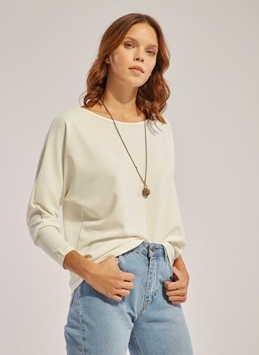Monamoda Düşük Omuz Crep Örme Bluz Ekru